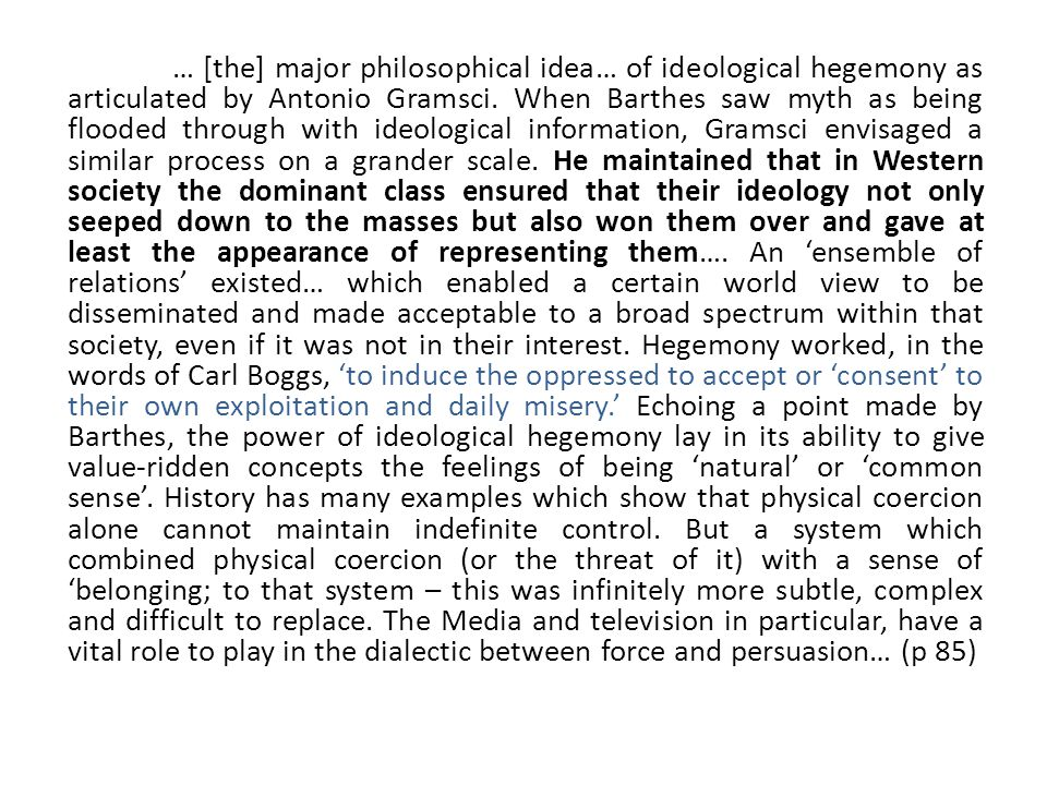 ideology hegemony essay Hegemony and ideology in roger and me essay we can write hegemony and ideology in roger and me we provides students with professionally written essays, research papers, term papers.
